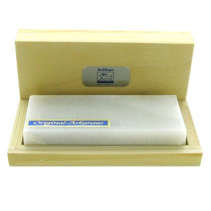 imagem do produto Pedra Arkansas 100x40x10mm c/ Caixa de Madeira - Antílope